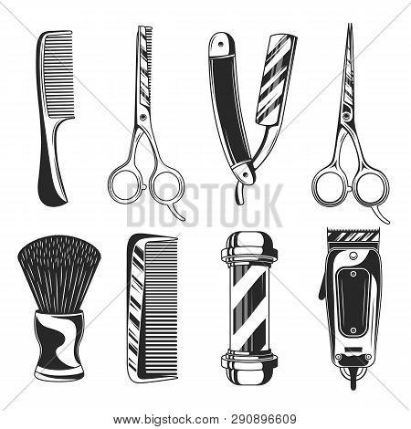 Vintage Barber Shop Set Items. Barbershop  Equipments. Barber Pole, Razor Blade, Hair Clipper, Sciss