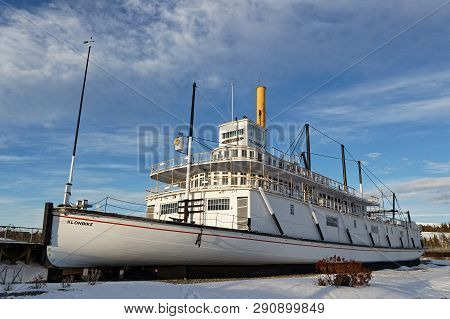 Whitehorse, Yukon, Canada, March 9, 2019 : Famous Ss Klondike Steamer On The Yukon River Banks. Whit
