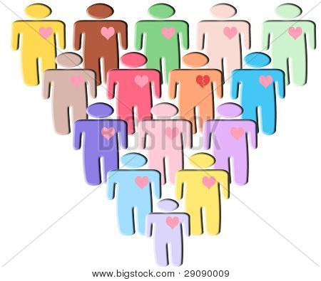 People Symbol Heart On White Background