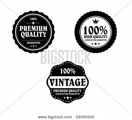 Vintage Styled Premium Quality And Satisfaction Guarantee Label Collection With Black Grungy Design