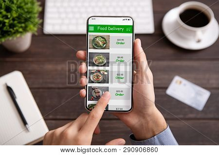 Food Delivery. Businessman Choosing Meal For Lunch In Takeaway Restaurant Service On Mobile Applicat
