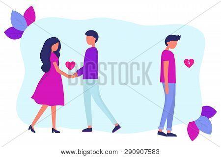 Love Triangle. A Woman Is Dating Another Man. Treason. A Guy With A Broken Heart. Modern Flat Vector