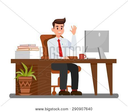 Man At Workplace In Office Vector Illustration. Office Worker Waving Hi Cartoon Character. Employer