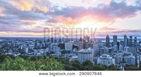 Beautiful Sky And Sunrise Light Over Montreal City In The Morning Time. Amazing View From Mont-royal