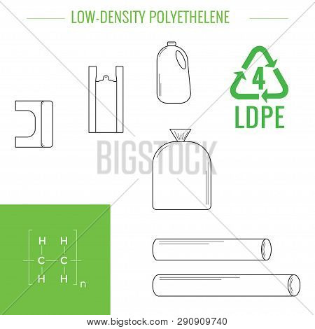 Ldpe (peld) - Low-density Polyethylene. Symbol Of Plastic Recycling And Types Of Plastic Products.