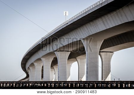 Concrete Roosevelt Bridge In The Sky In Stuart, Florida