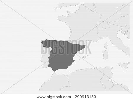 Spain Map Of Europe.Map Europe Vector Photo Free Trial Bigstock