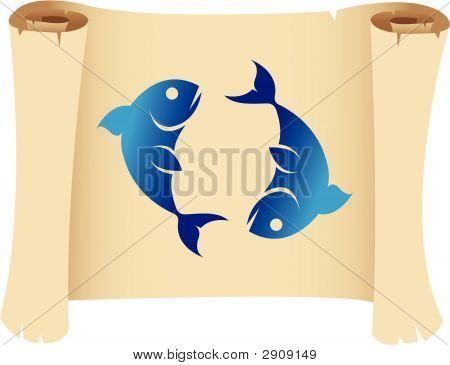 Pisces zodiac star sign on a grunge manuscript poster