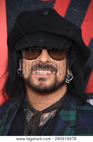 LOS ANGELES - MAR 18:  Nikki Sixx arrives for the Netflix 'The Dirt' Premiere on March 18, 2019 in Hollywood, CA