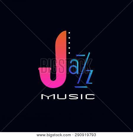 Vintage Music Icon Concept. Hand Drawn Jazz Music Design Element. Colorful Musical Instrument Emblem
