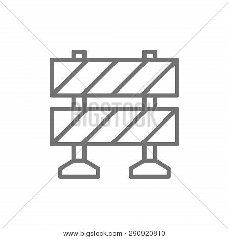 Railroad Barrier, Roadblock Line Icon. Isolated On White Background