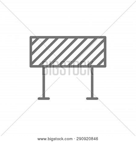 Road Barrier, Roadblock, Borderline Line Icon. Isolated On White Background