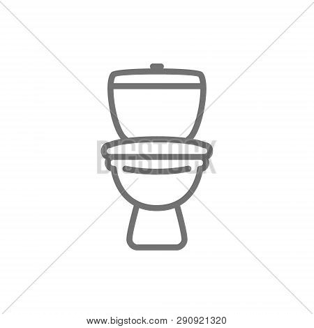 Toilet, Lavatory, Wc Line Icon. Isolated On White Background
