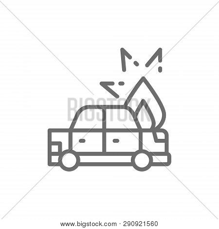 Fire under hood of car, automobile broke down, accident line icon. poster