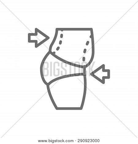 Liposuction Of Abdomen, Tummy Tuck, Plastic Surgery Line Icon.