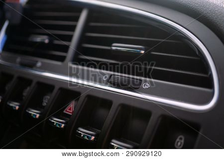 Car Conditioner. The Air Flow Inside The Car. Detail Interior. Air Ducts, Deflectors On The Car Pane