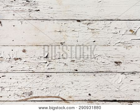Seamless Texture Background, Boards Natural Old Painted White. White Wood Pattern And Texture For Ba