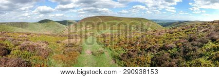 Panoramic Shot Of The Long Mynd Area Of Shropshire, England On A Sunny Day.