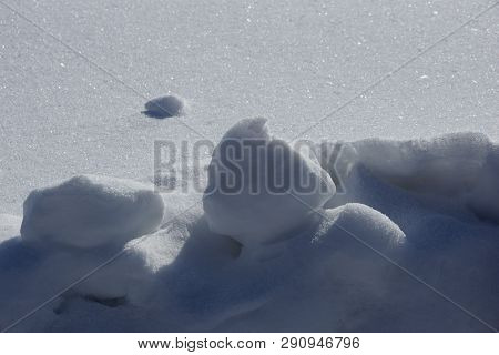 Snow And Shadows. Texture Background Snow Surface The Snow. Snow On White Background. Christmas Back