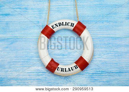 Life belt with german phrase