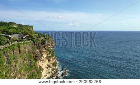Cliff At Uluwatu Temple Or Pura Luhur Uluwatu. One Of Tourist Attraction In Bali Indonesia.