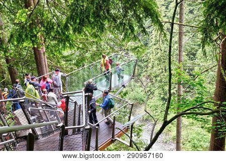 Vancouver - Jun 29, 2011: Visitors Exploring Rainforest Vegetation Through The Capilano Cliff Walk,