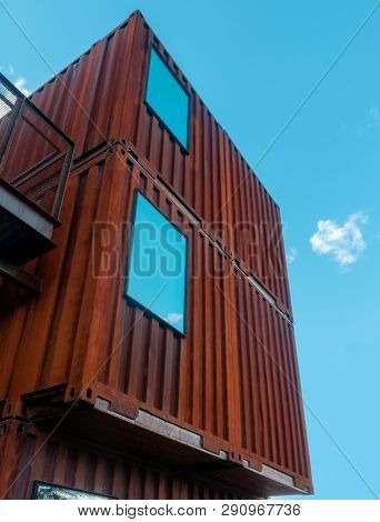 Shipping containers sustainable architecture design with window used as home.
