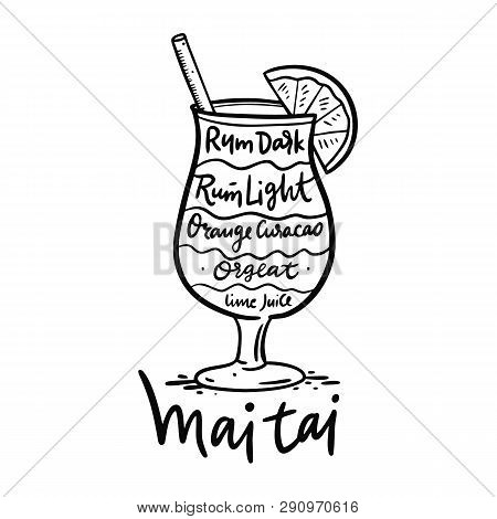 Cocktail Mai Tai And Its Ingredients In Vintage Style. Hand Draw Vector Illustration.
