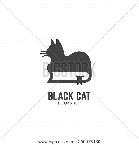 Black Cat Bookshop Logo Design Template With A Cat On A Book. Vector Illustration.