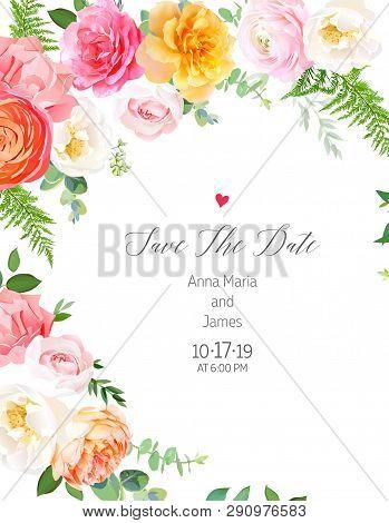 Floral Vector Design Round Frame.pink, Yellow Rose, Orange Ranunculus, Juliet Garden Rose, Coral Car