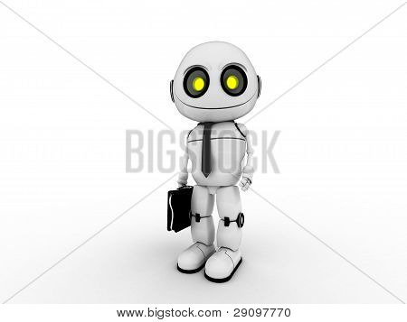white robot businessman