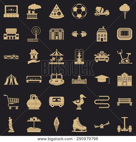 Town Icons Set. Simple Style Of 36 Town Vector Icons For Web For Any Design