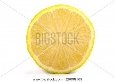 Single Cross Section Of Yellow Lemon