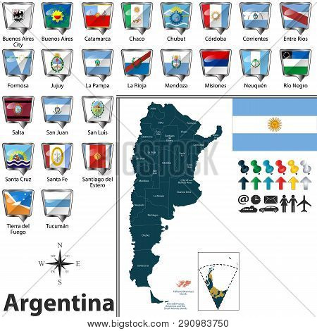 Vector Map Of Argentina With Regions And Flags Of States