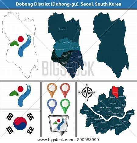 Vector map of Dobong District or Gu of Seoul metropolitan city in South Korea with flags and icons poster