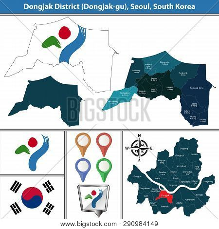 Vector map of Dongjak District or Gu of Seoul metropolitan city in South Korea with flags and icons poster