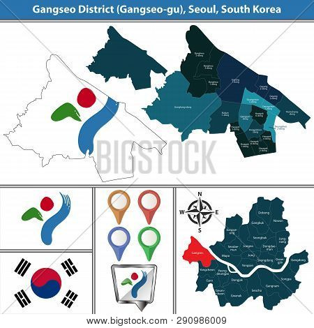 Vector map of Gangseo District or Gu of Seoul metropolitan city in South Korea with flags and icons poster