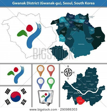 Vector Map Of Gwanak District Or Gu Of Seoul Metropolitan City In South Korea With Flags And Icons