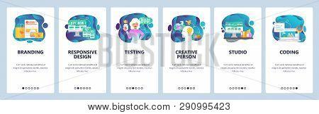 Mobile App Onboarding Screens. Digital Marketing, Branding And Design Studio, Creativity. Menu Vecto