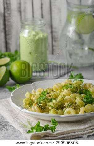 Fresh Summer Food With Homemade Pasta, Garlic Nuts Pesto And Lime Limonade