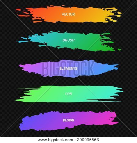 Banners,headers,collection Of Colorful Paint Stains On A Black, Neon Marker. Vector Set Of Elements