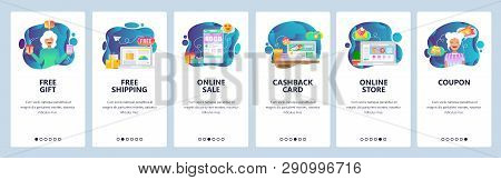 Mobile App Onboarding Screens. Online Shopping And Payment, Free Delivery, Cashback And Sale. Menu V