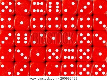 Pattern Background Of Random Ordered Red Dices