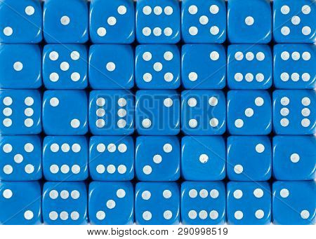 Pattern Background Of Blue Dices, Random Ordered