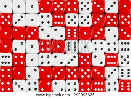 Pattern Background Of 70 Random Ordered White And Red Dices