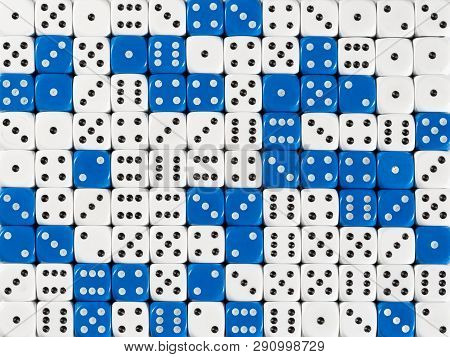 Pattern Background With Two-third Random Ordered White Dices And One-third Blue Dices