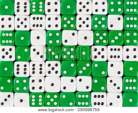 Pattern Background Of 70 Random Ordered White And Green Dices
