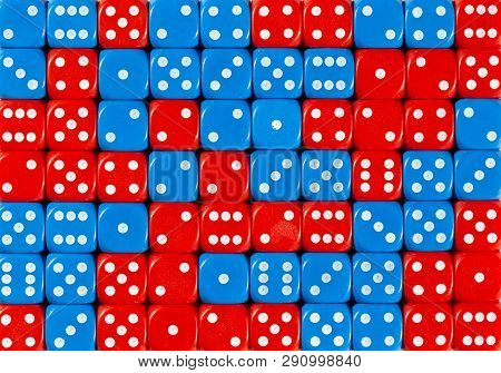 Pattern Background Of 70 Random Ordered Red And Blue Dices