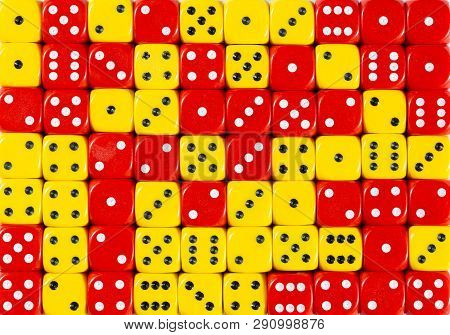 Pattern Background Of 70 Random Ordered Red And Yellow Dices
