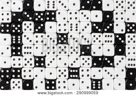 Pattern Background With Two-third Random Ordered White Dices And One-third Black Dices